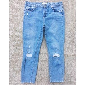 Free People Distressed Knee Raw Hem Jeans